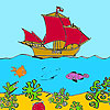 Ship on the  sea coloring